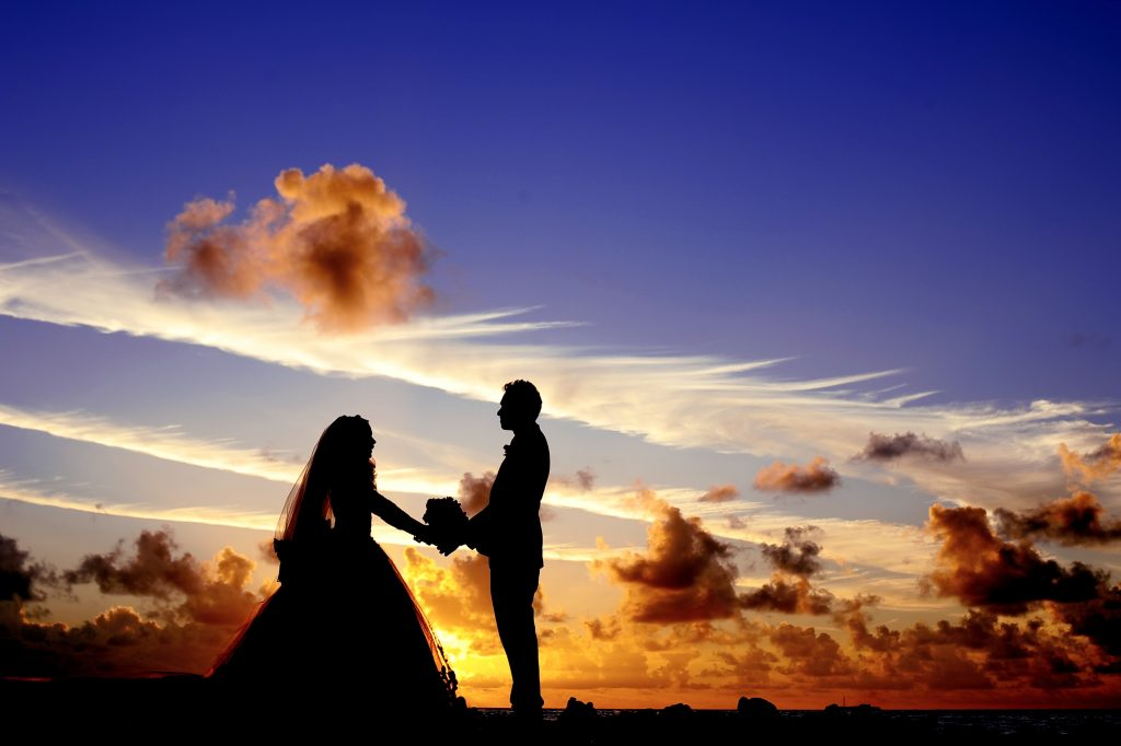 Maldives sunset wedding bride
